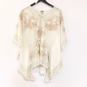 Haute Hippie Embroidered beaded top cover kaftan